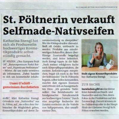 Bezirksblätter – Artikel über Nativseifen